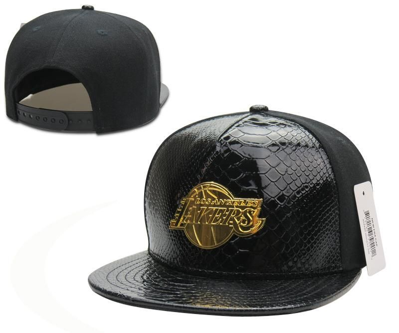 3d4467f7341ea Mens Los Angeles Lakers NBA Gold Metal Team Logo Faux Crocodile Leather  Front Baseball Snapback Hat - Black