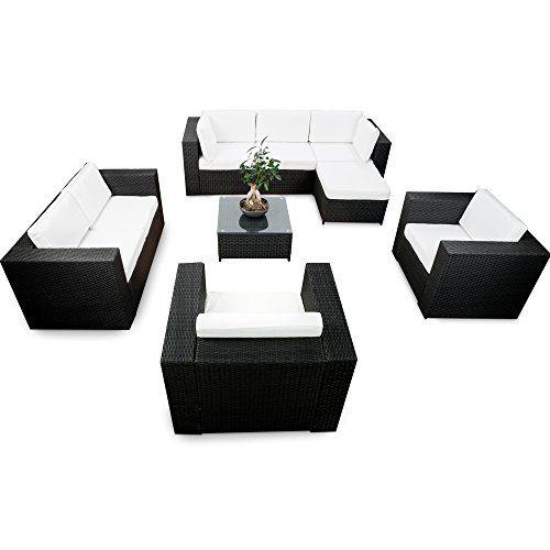 erweiterbares 26tlg. XXXL Polyrattan Lounge Möbel XXL Eck Sofa Set ...