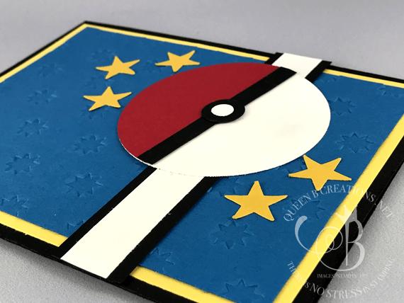 Stampin Up Pokemon Cad Pokeball Punch Art Handmade Card Made By