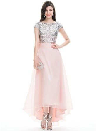 6227965151f A-Line Princess Scoop Neck Asymmetrical Organza Prom Dress With Beading