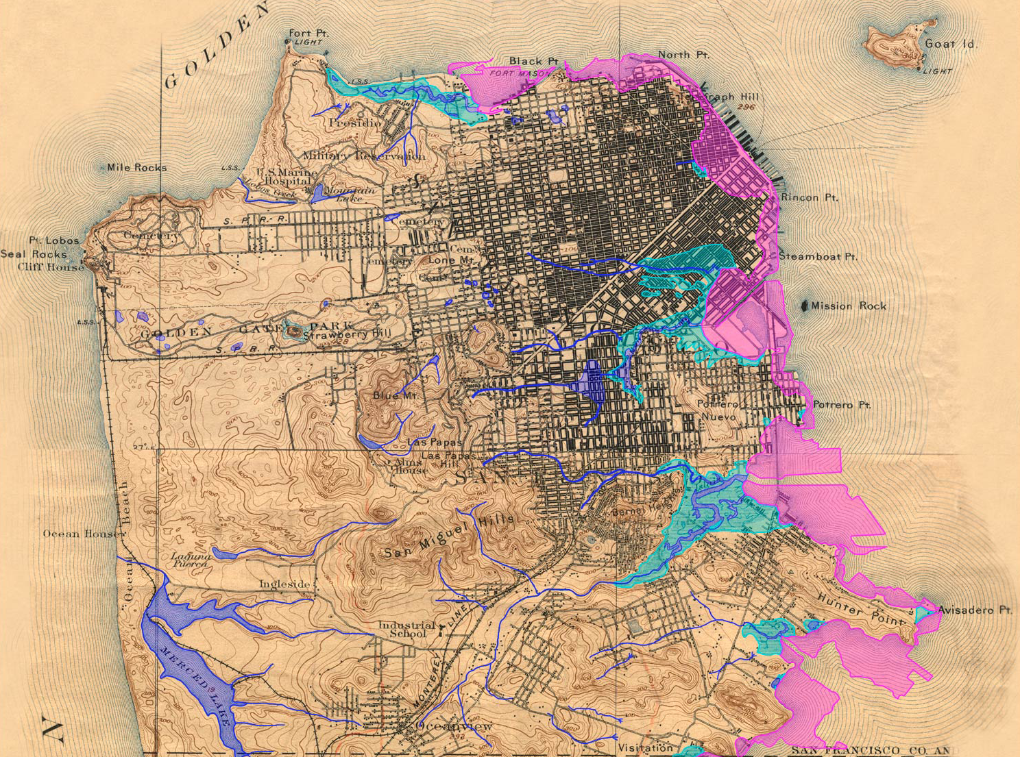 Former San Francisco watershed, with street map and topography ...