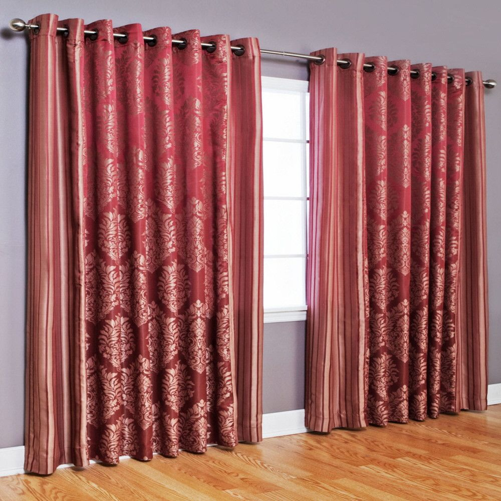 Inc faux silk blackout curtain set of 2 light pink hautelook - Drapes Curtains Best Home Fashion Wide Width Damask Grommet Curtain Oxeme Home