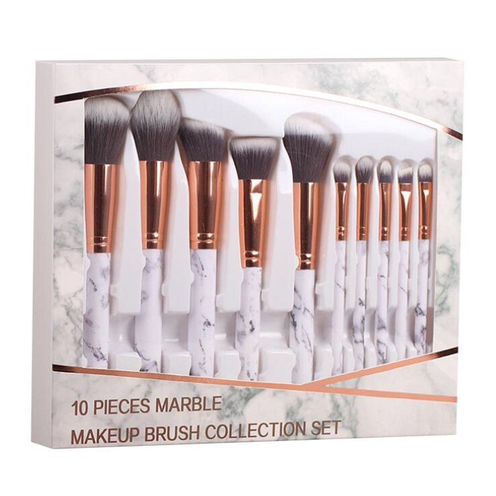 10pcs Makeup Brushes Onegenug Cosmetic Brushes Marble Style Handle Makeup Brush Set Tools You Can Get Ad Makeup Brush Set Makeup Brushes Cosmetic Brush Set