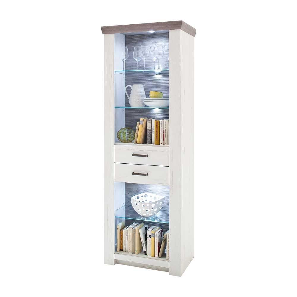 Bücherregal mit LED Beleuchtung Pinie Weiß Jetzt bestellen unter ...