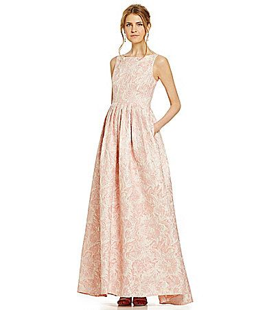 Adrianna Papell Floral Metallic Jacquard Gown #Dillards   My style ...