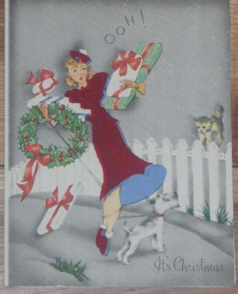 1940s Lady in Flocked Red Dress with Presents, Dog & Cat Christmas ...