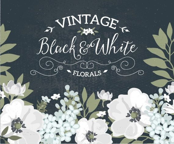 Vintage Black and White floral wreath clipart / wedding