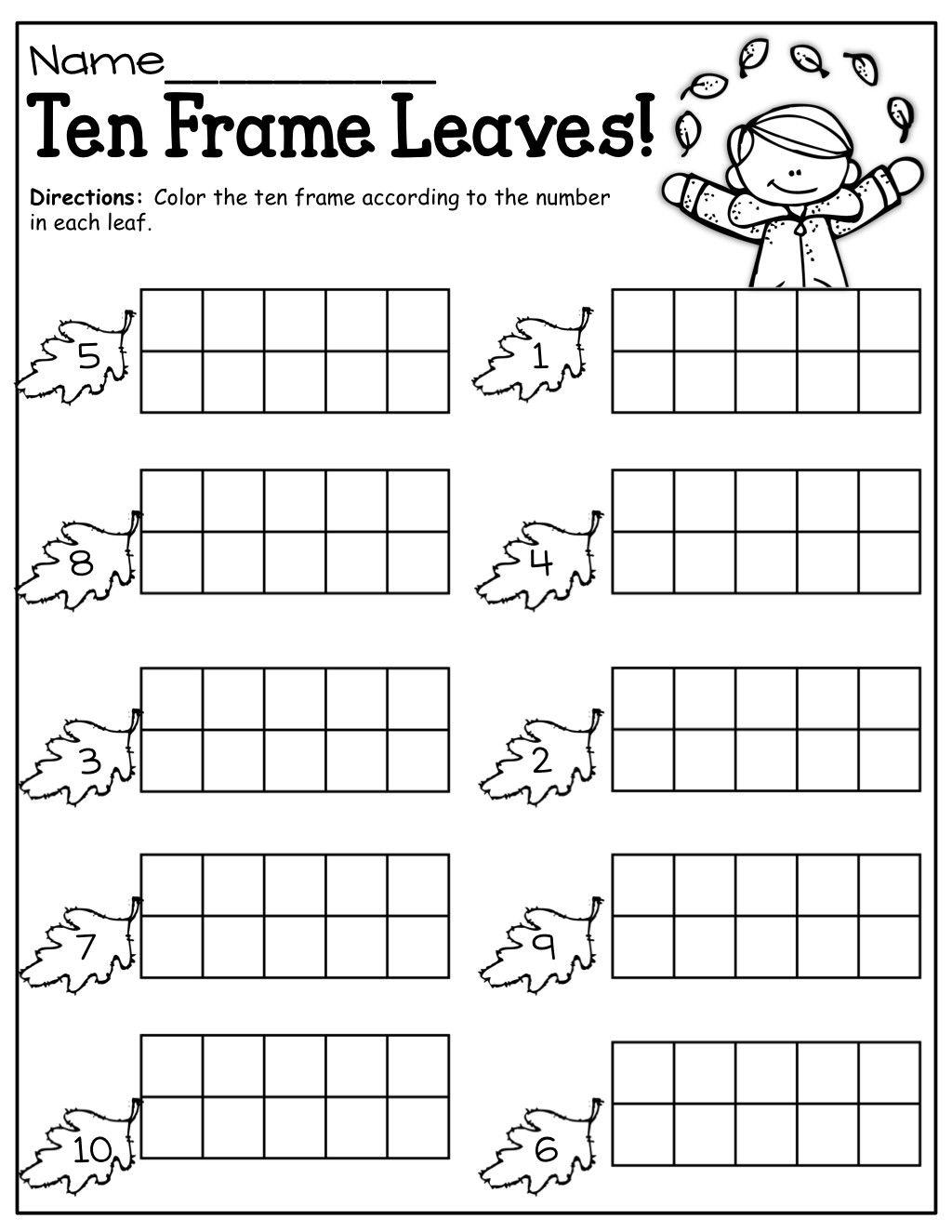 Ten Frame Worksheets For Kindergarten In