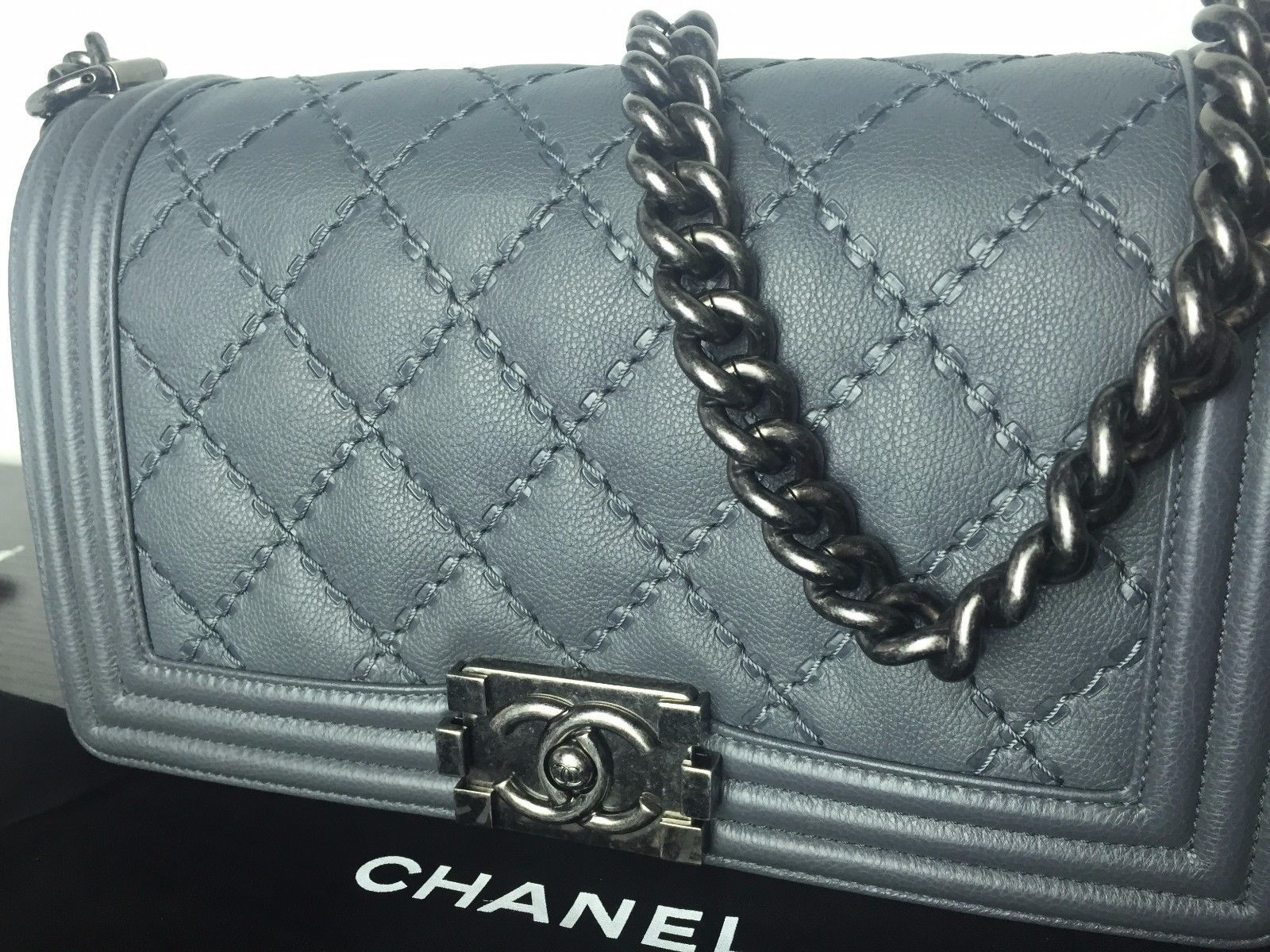 Chanel Medium Boy Bag Metallic Silver Soft Caviar Brand New | eBay
