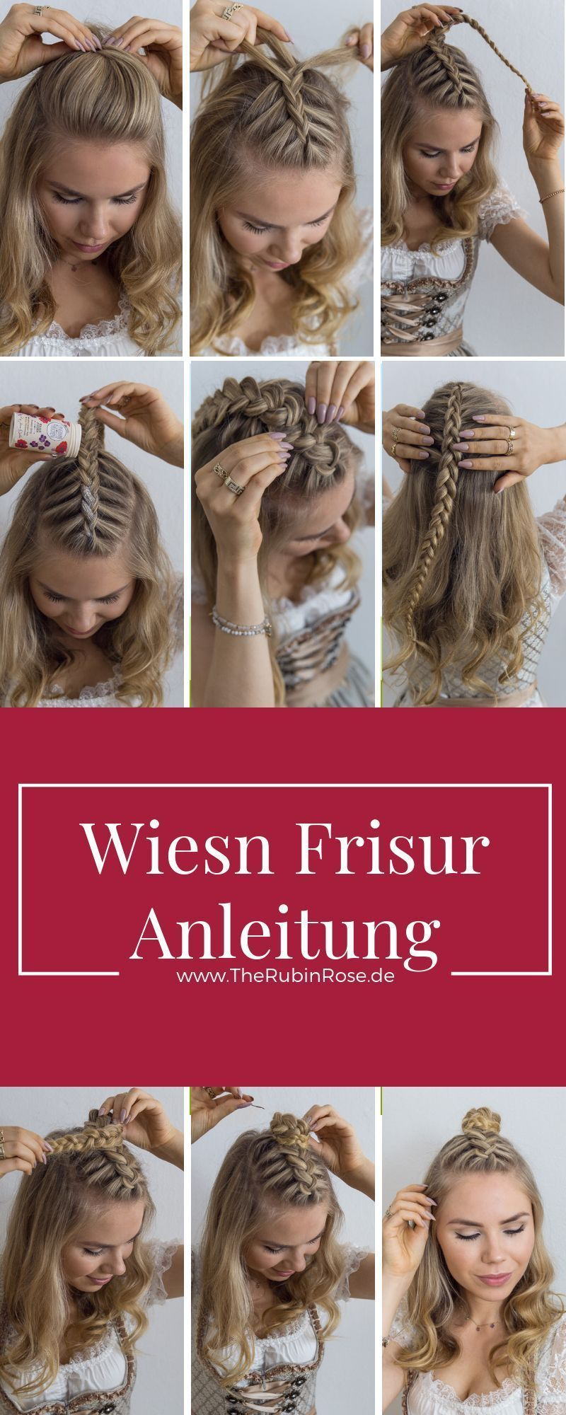 Dirndl Hairstyle Instructions For Medium Length Hair Cabelos In My Youtube Video Dirndl Hairsty In 2020 Medium Long Hair Medium Length Hair Styles Hair Lengths