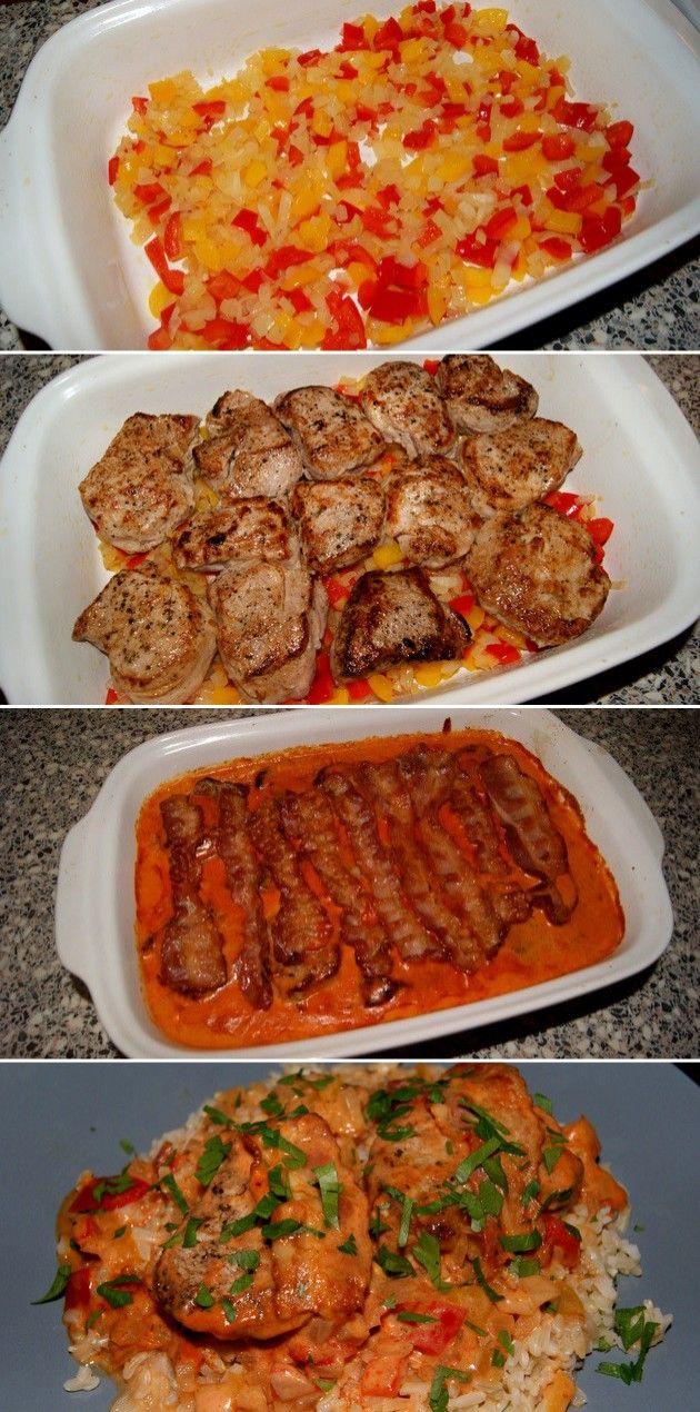 Forrygende opskrift på svinemørbrad i fad med en cremet paprikasovs og bacon på toppen. Servér med ris eller kartoffelmos, så har du dejlig aftensmad.