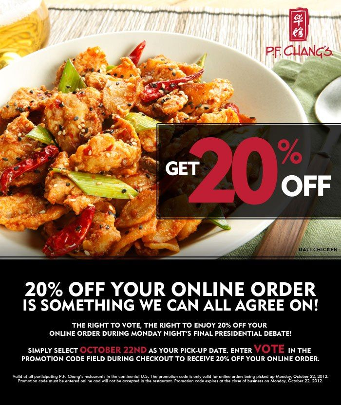 P.F. Chang's 20% off Takeout Tonight!
