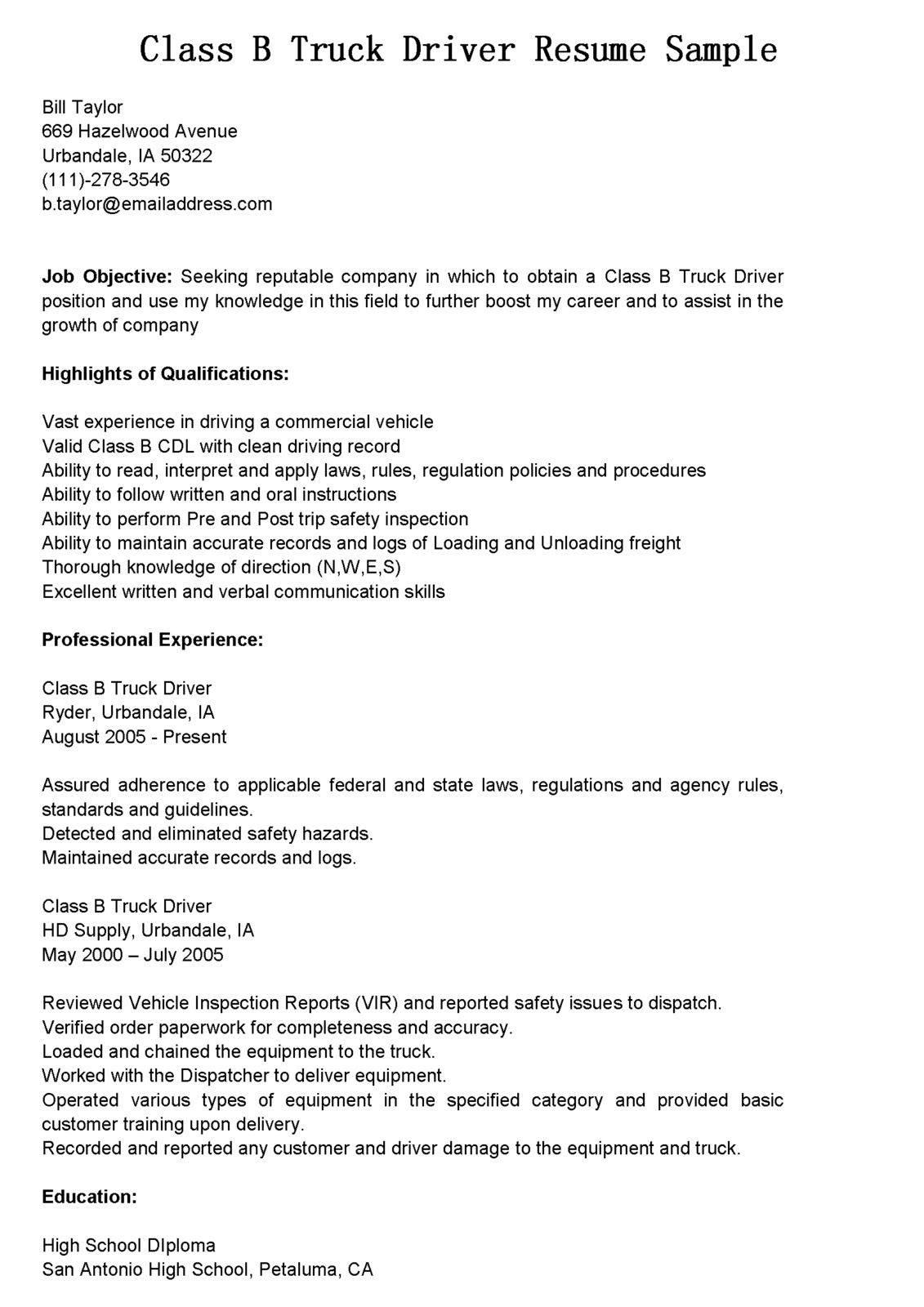 Truck Drivers Resume Sample We Provide As Reference To Make Correct And  Good Quality Resume.