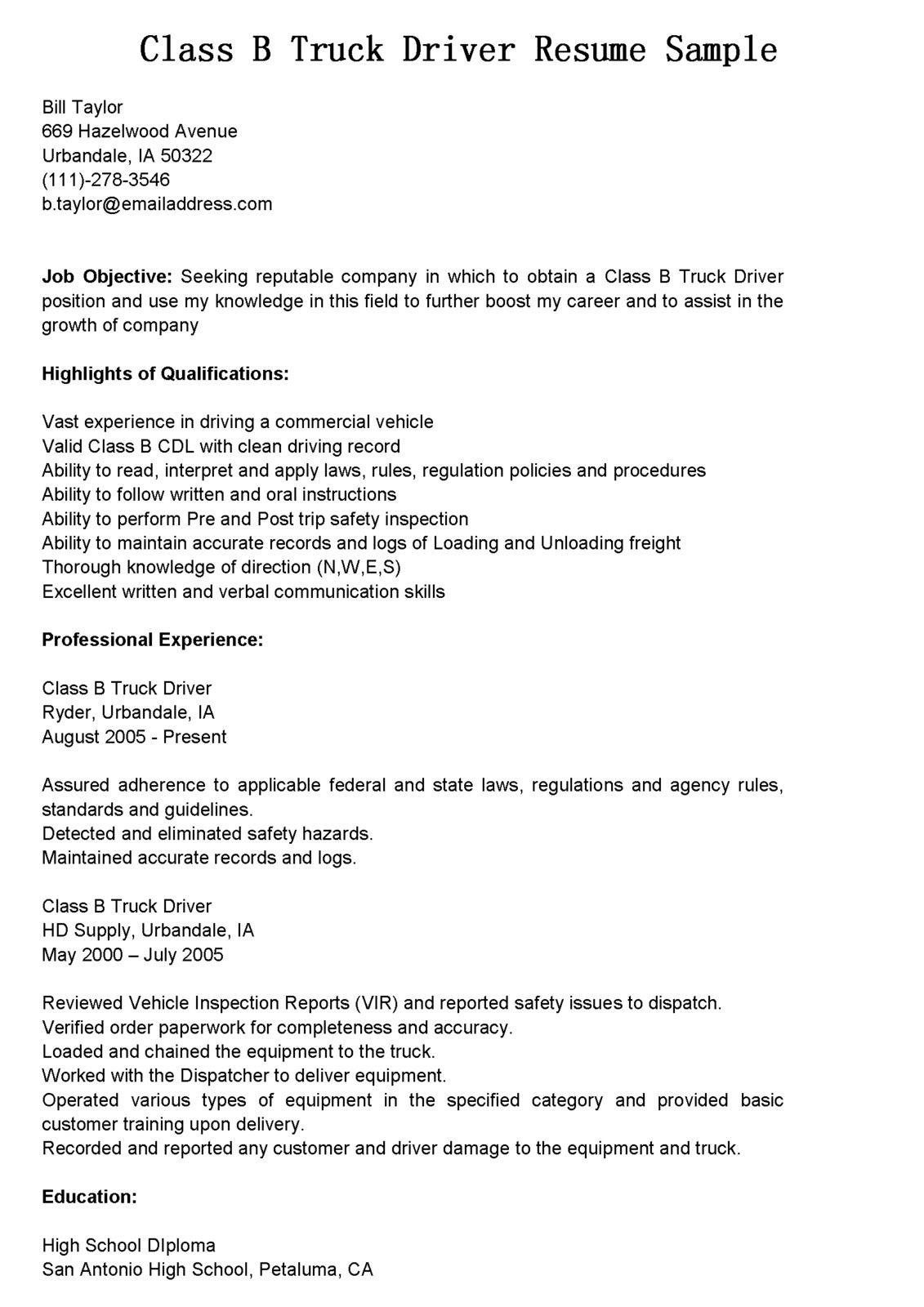 san resume samples