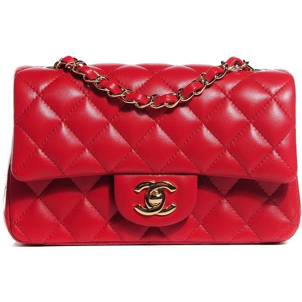 b4f1fb1959 CHANEL Lambskin Quilted Rectangular Mini Flap Red ❤ liked on Polyvore  featuring bags, handbags, evening handbags, crossbody handbags, mini  crossbody purse, ...