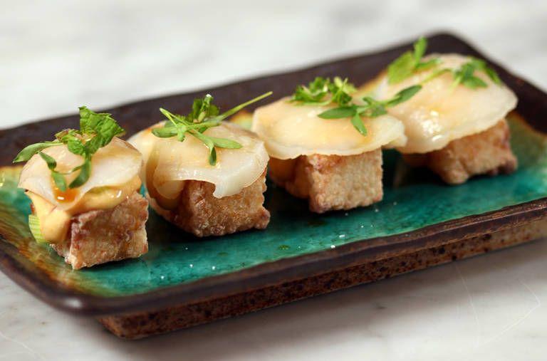 Fried sushi cakes with scallops sushi cake recipes