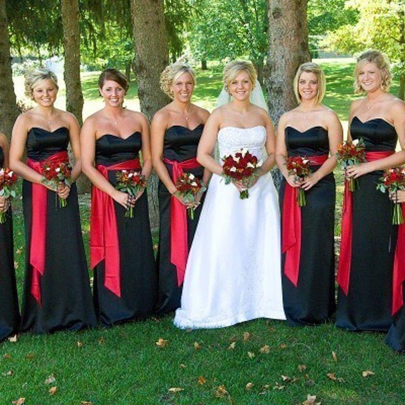 8ea74e3a4 Elegante Negro Vestido de Dama de honor Del Hombro Sash Vestidos De Madrina  de Boda Largo Vestidos de Partido con Red Sash Por Encargo(China (Mainland))