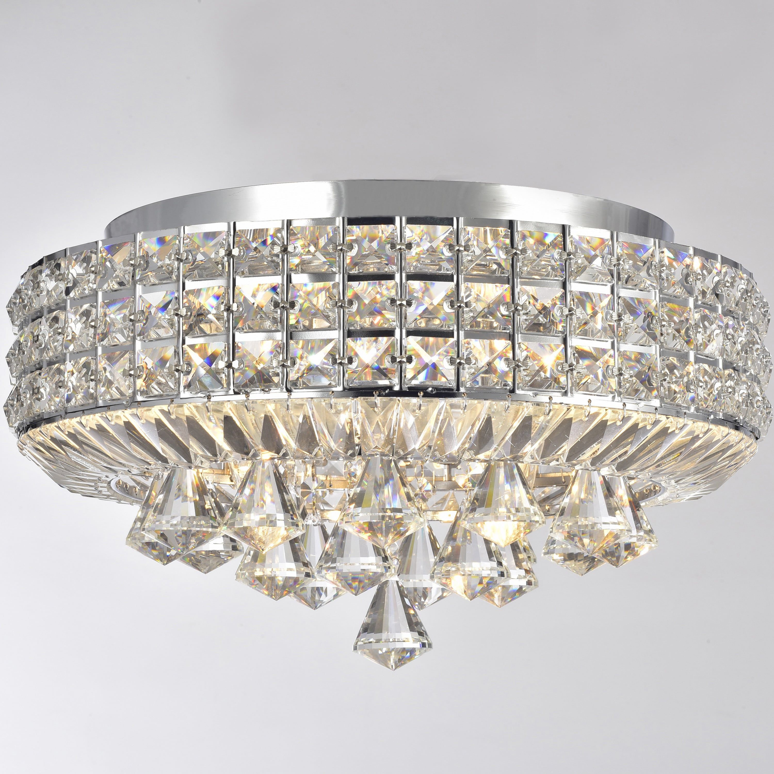 Silver Orchid Taylor Chrome 4 Light Crystal Flush Mount Chandelier Free Today