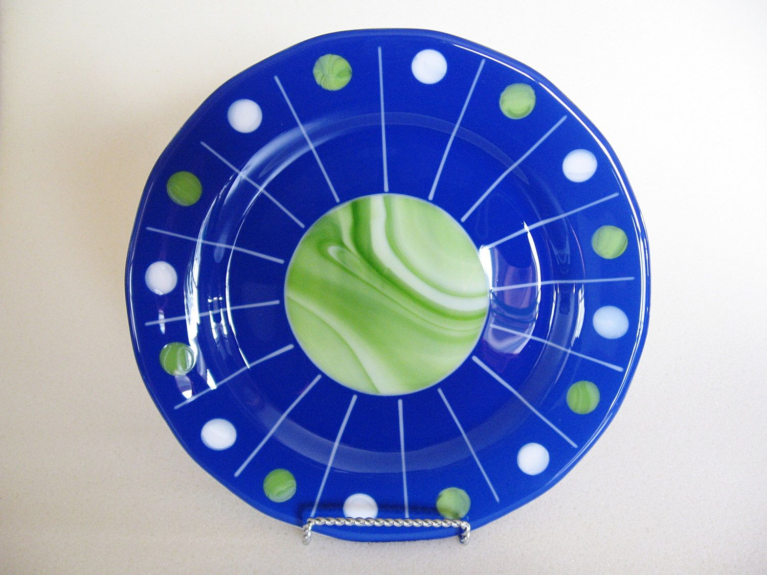 """Fused Glass Plate - 11"""" Diameter - Decorative Plate - Decorative Dish - Round Plate - Wall Art - Blue - Green - Celestial - Planet by StainedGlassYourWay on Etsy https://www.etsy.com/listing/184964598/fused-glass-plate-11-diameter-decorative"""