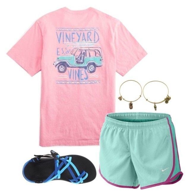 """""""casual summer outfit"""" by alexatesh ❤ liked on Polyvore featuring NIKE, Chaco and Alex and Ani"""