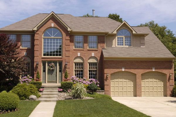 garage door color ideas for orangebrick house - orange brick home exterior colors