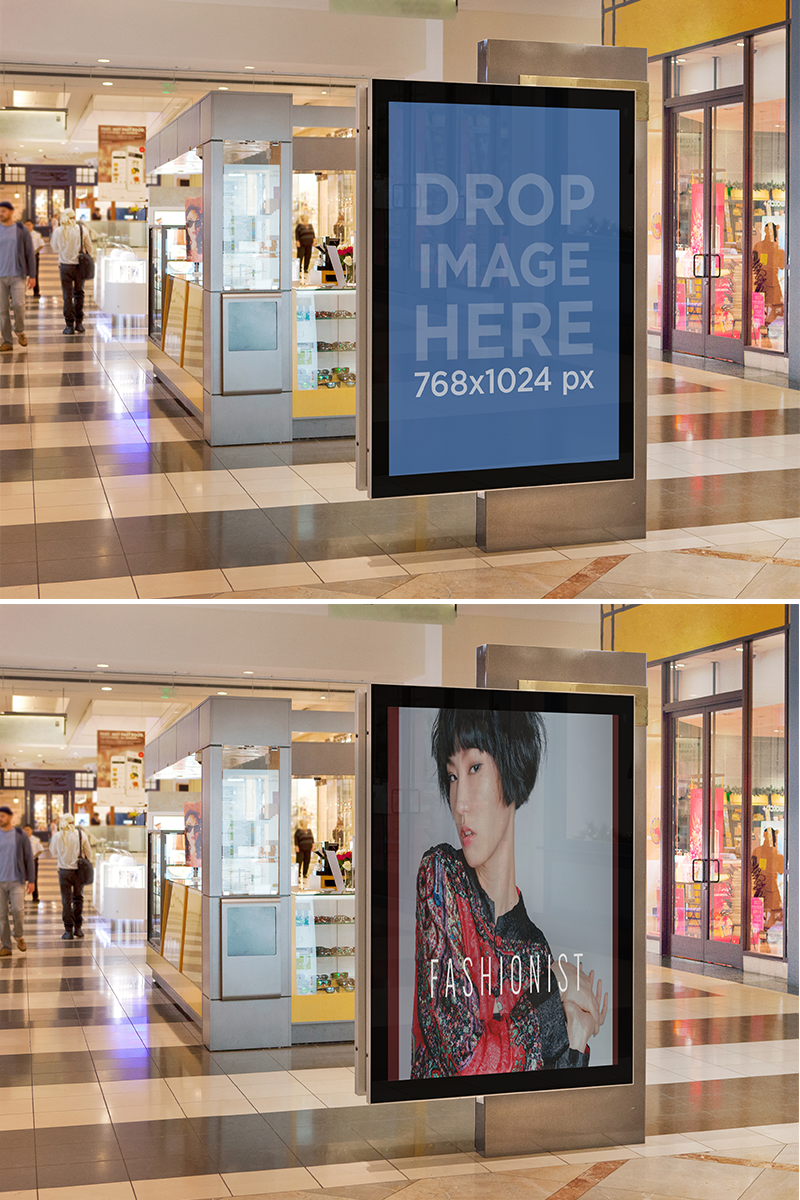 Squared Ad On A Mall | Mockup, Mall, Poster