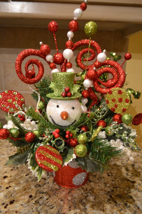 Whimsical Snowman Arrangement by kristenscreations on Etsy