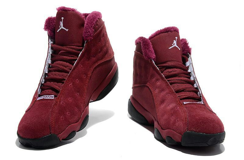 Air Jordan 13 Inside With Fluff Burgundy Black Shoes