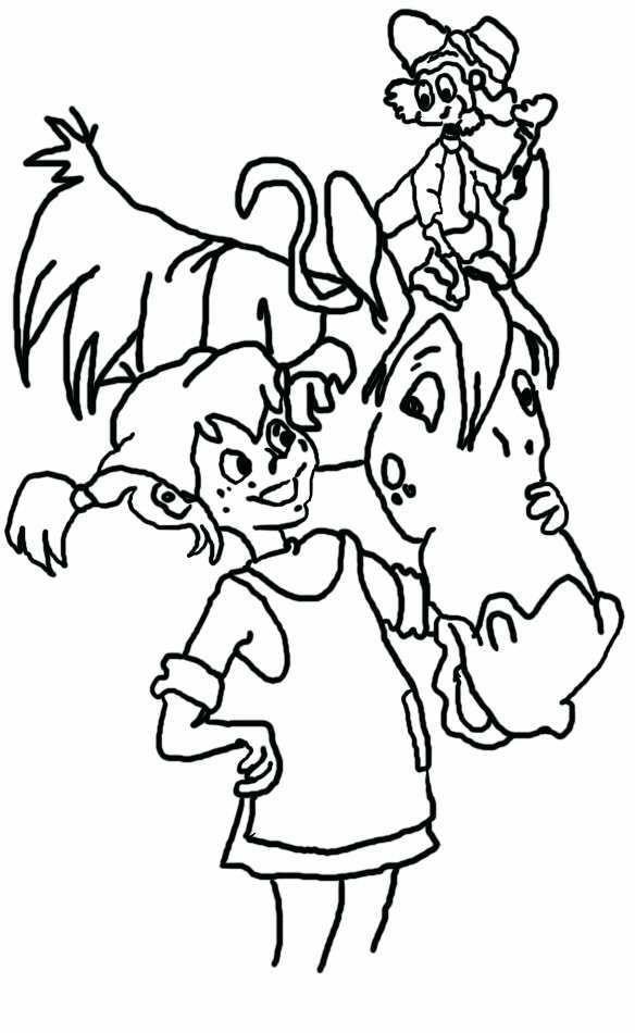 Zeichentrick-Pippi-mit-Pferd-zum-ausmalen.jpg (584×950) | Astrid ...