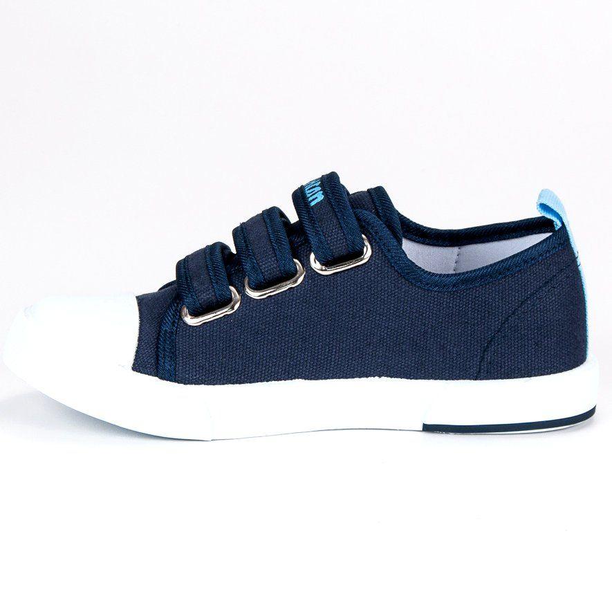 Buty Sportowe Dzieciece Dla Dzieci Americanclub American Club Niebieskie Granatowe Trampki Na Rzep American Shoes Sneakers Fashion