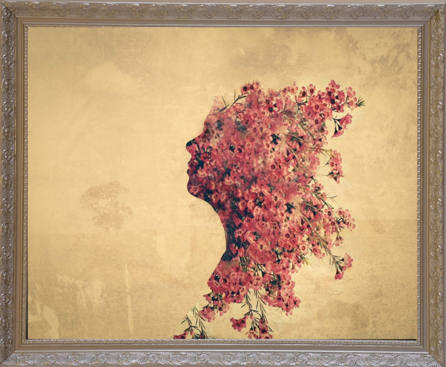 Abstract flower wall art, Double exposure poster print, 20 x 16 ...