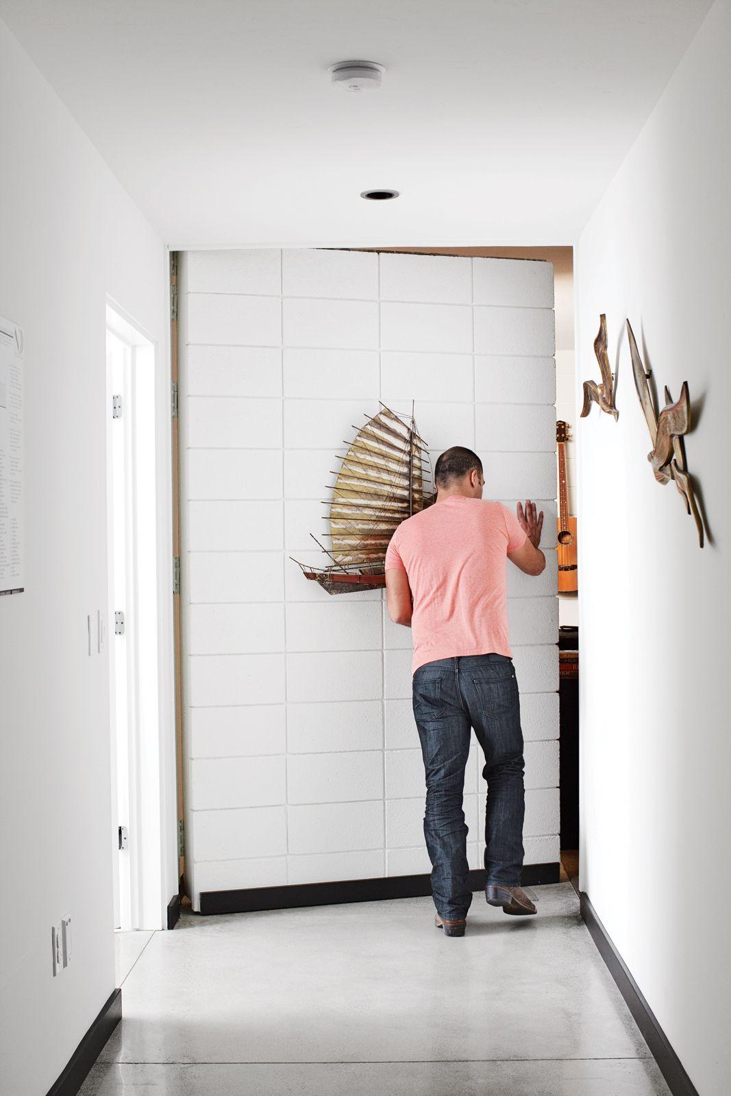 Delightful White Hidden Door Opened