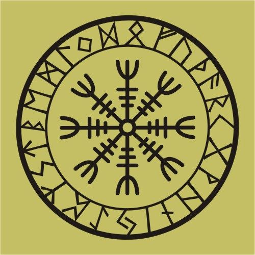 524743b12 Viking protection runes helm of awe talisman black vinyl decal ...