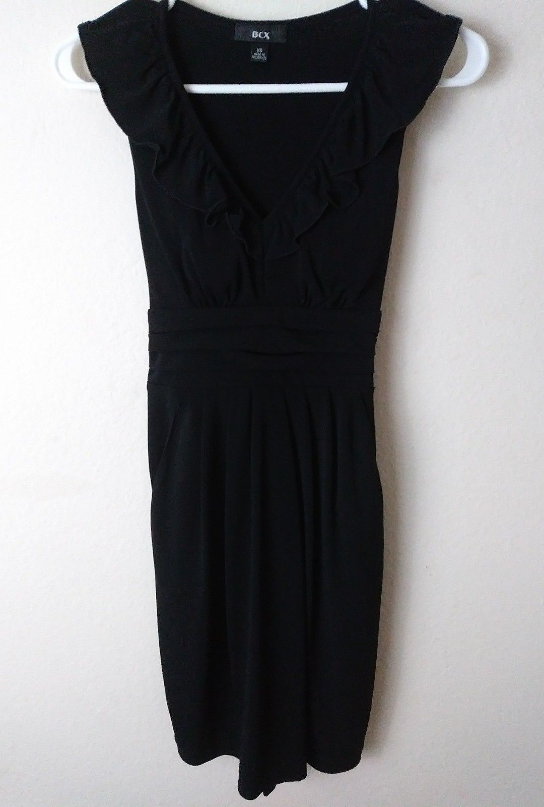 Cool great bcx little black dress with v neck ruffled front size x