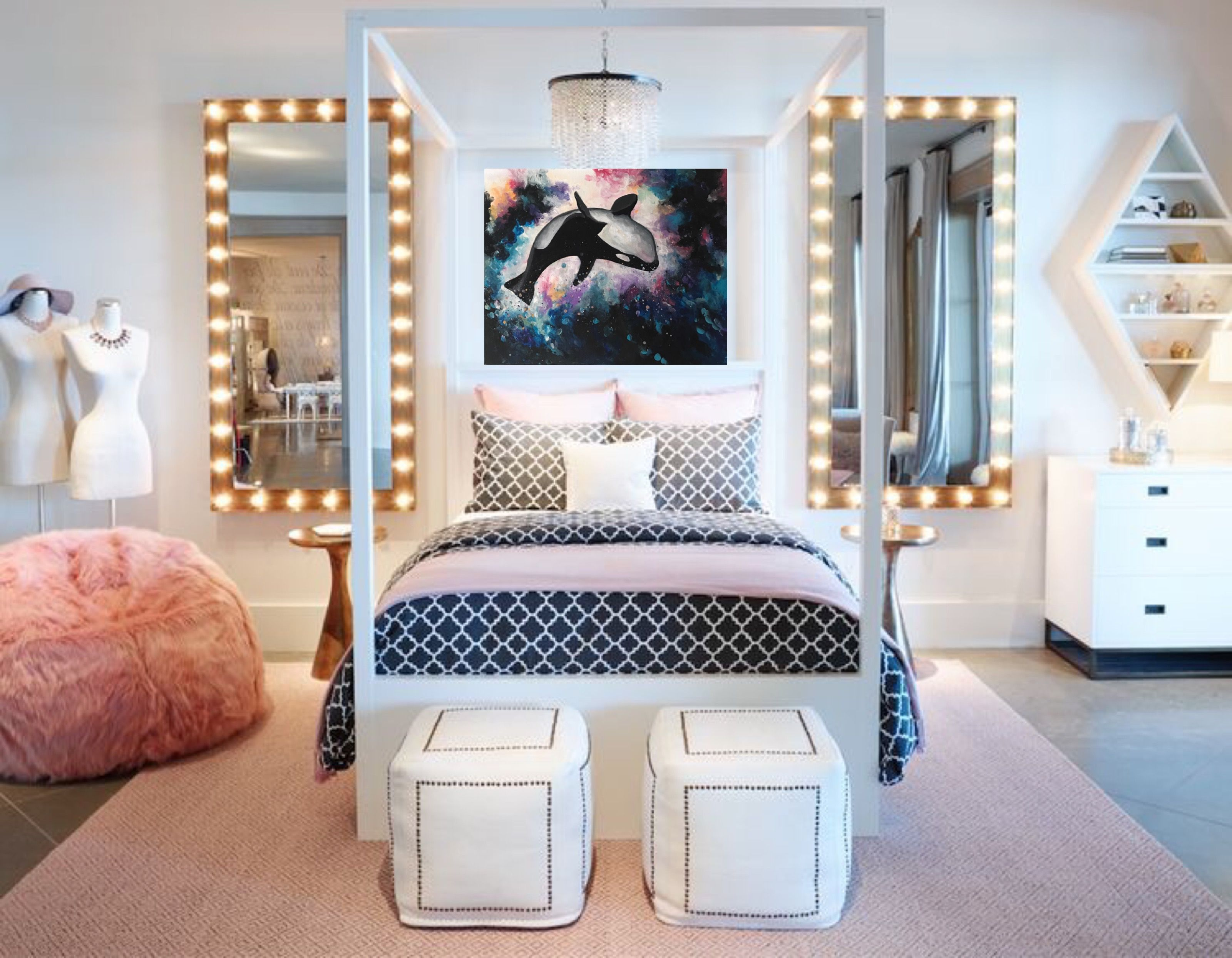 Glam bedroom glamorous bedroom glam art fashion art - Teenage girl bedroom decorations ...