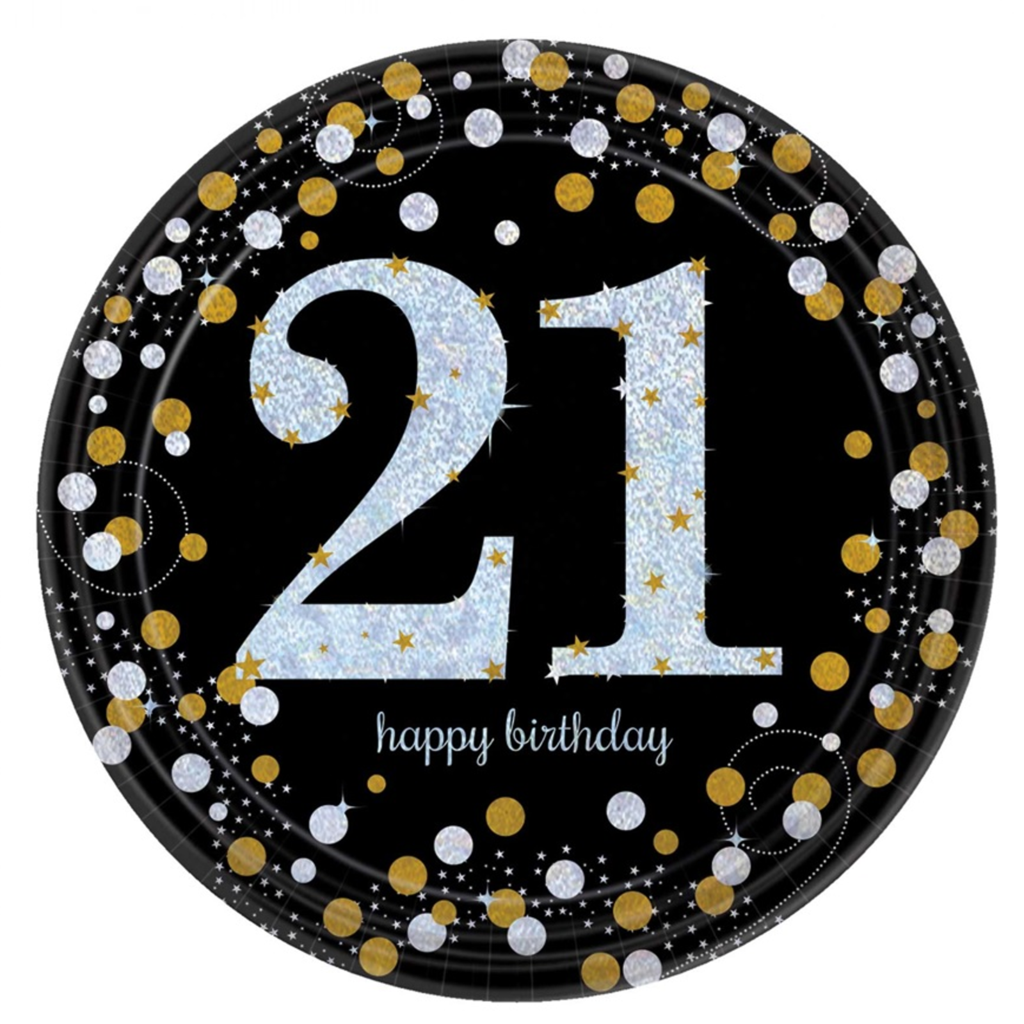 Gold Celebration 21st Birthday Paper Plate (8/Pk) Happy
