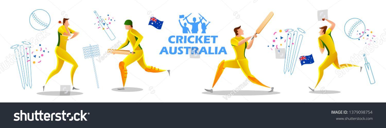 Illustration Of Player Batsman And Bowler Of Team Australia Playing Cricket Championship Sports Ad Affiliate Bowler Team Batsma Bowler Illustration Teams