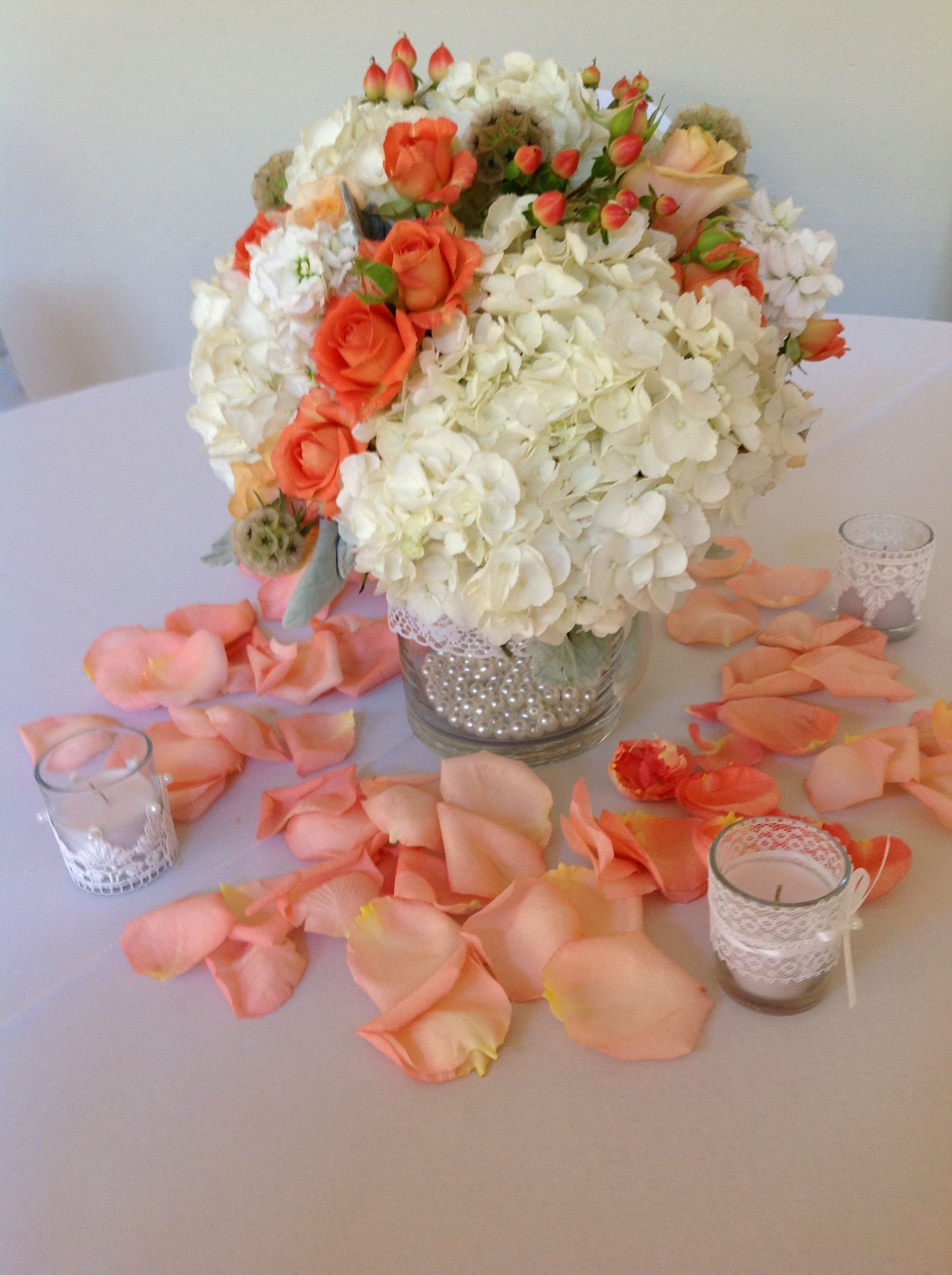 Lace And Pearls With Orange White And Orange Flowers Centerpieces