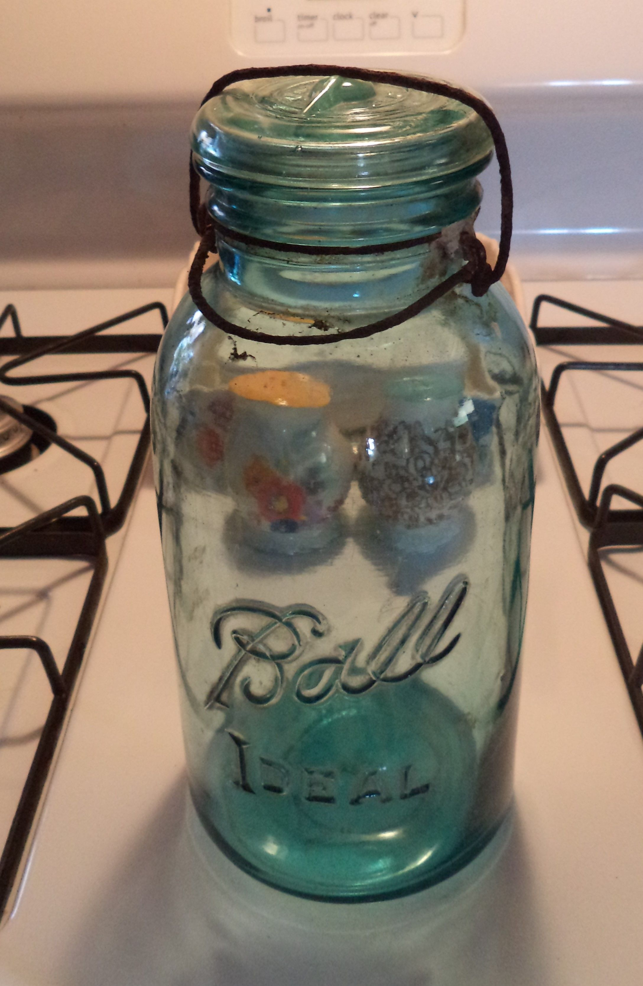 Vintage Blue Ball Ideal Half Gallon Mason Jar With Gl Lid And Wire Latch