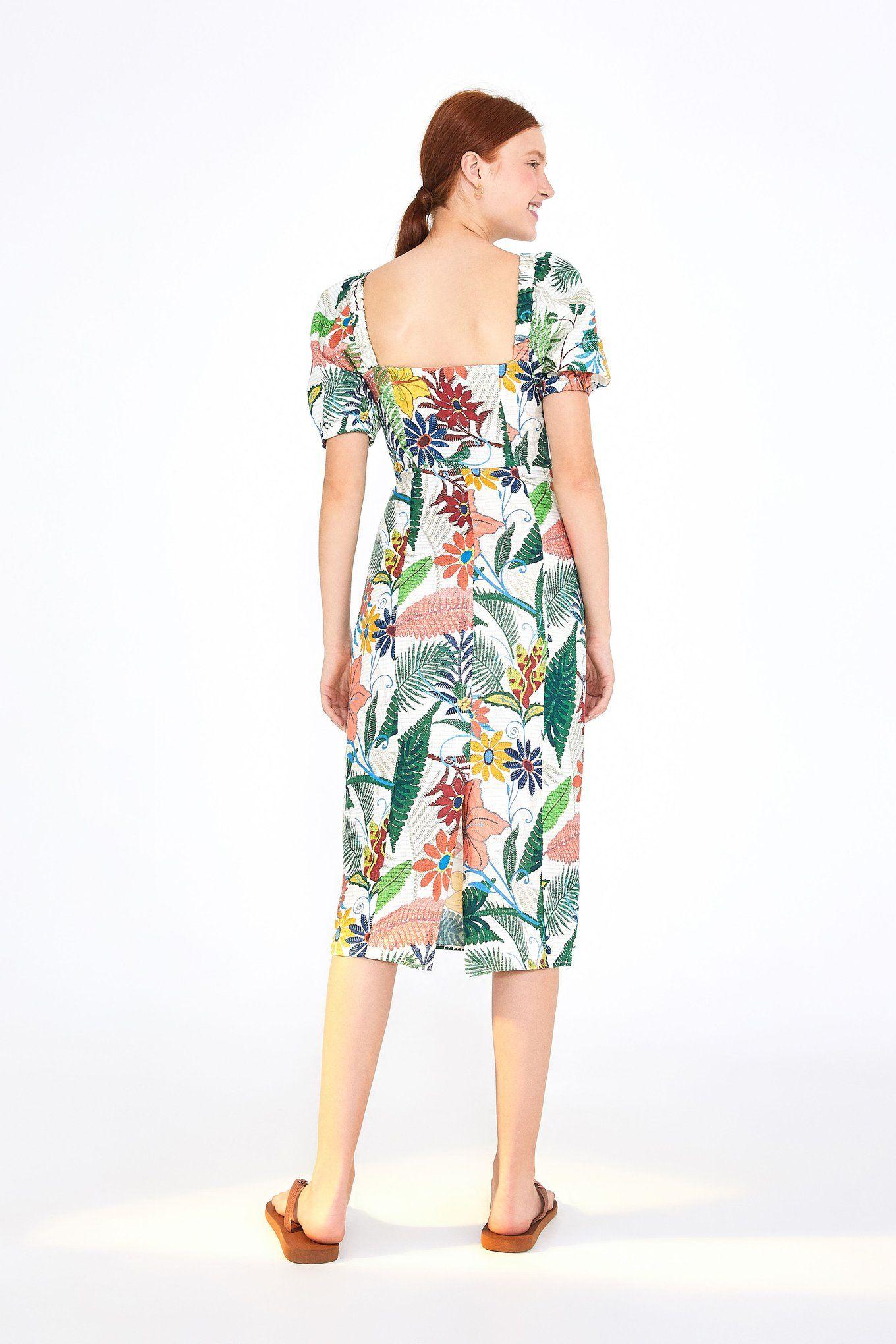 Vintage Garden Puffed Sleeves Midi Dress Farm Rio Dresses Puff Sleeve Midi Dresses Midi Dress