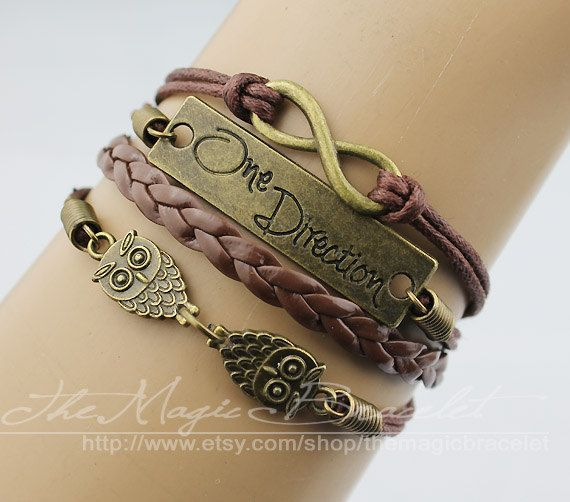 One direction infinity the owl charm bracelet by themagicbracelet, $5.59