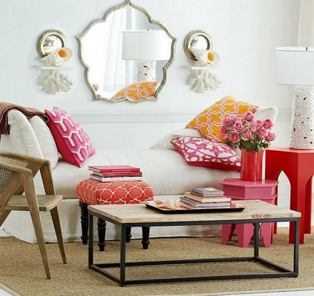 Living Room: Bright Reds Steal The Show In This Moroccan Living Room With  Comfy White