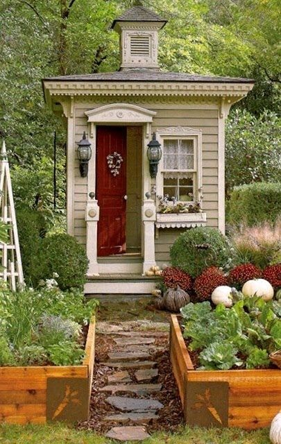Images of cottage shed with red stain red door white trim taupe siding garden and flowers - Cottage garten terrasse ...