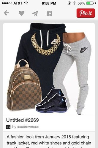 b672d5e4eb nike grey sweatpants sweatpants air jordan high top sneakers backpack gold  chain gold necklace black hoodie sportswear urban