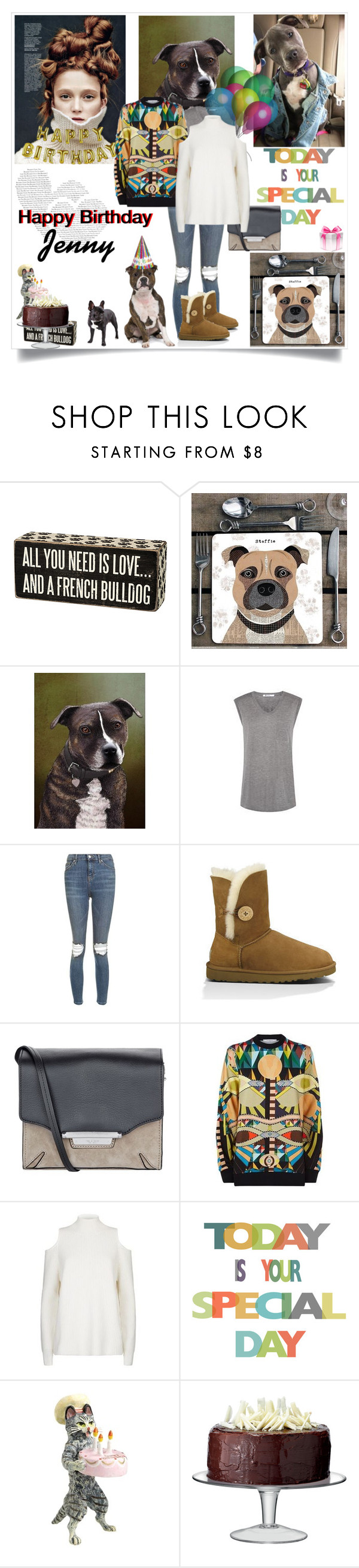 """Happy Birthday Jenny"" by lizart ❤ liked on Polyvore featuring Primitives By Kathy, Topshop, UGG Australia, rag & bone, Givenchy, ZoÃ« Jordan, Talking Tables and LSA International"
