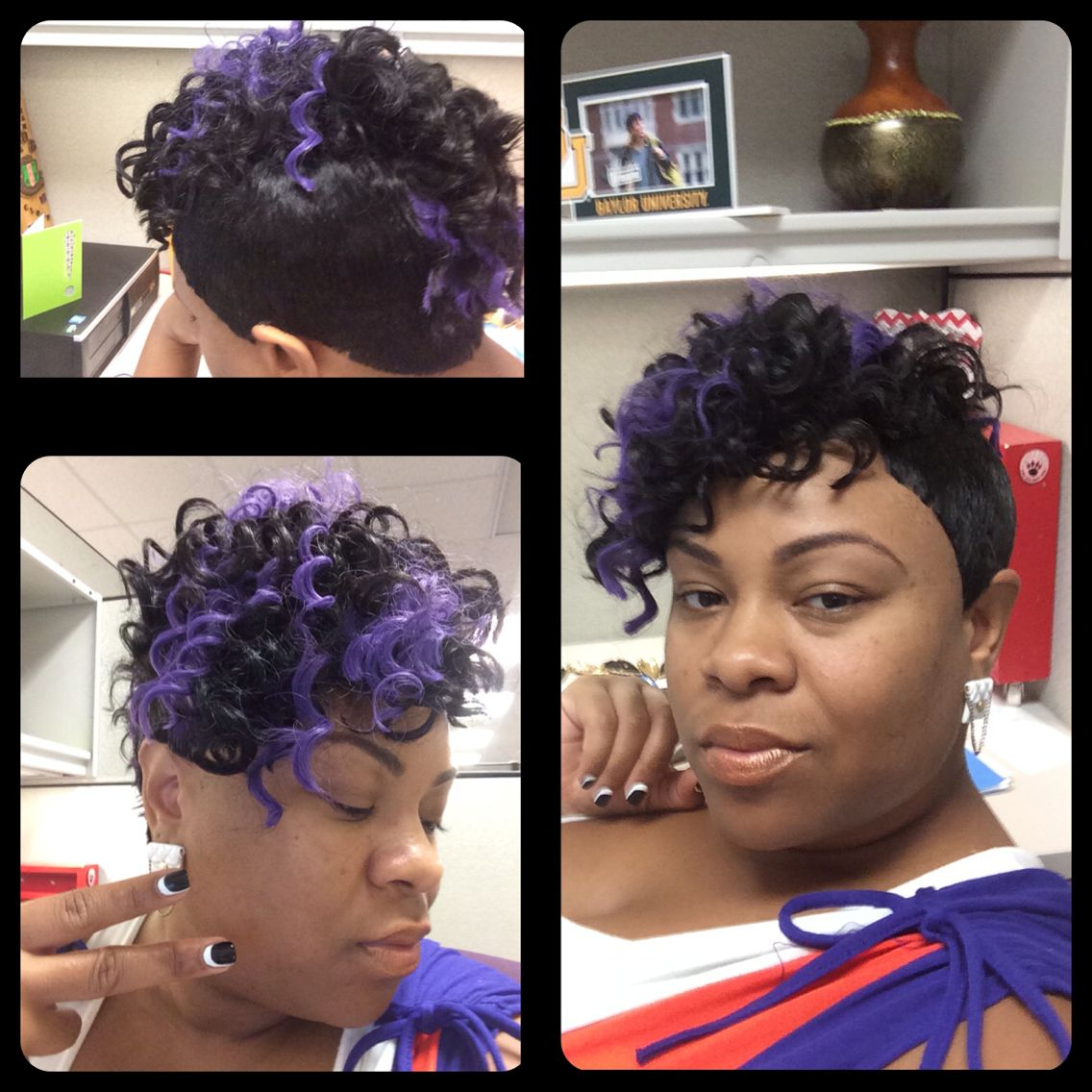 27 piece quick weave w/ French curl hair, shaved down side ...