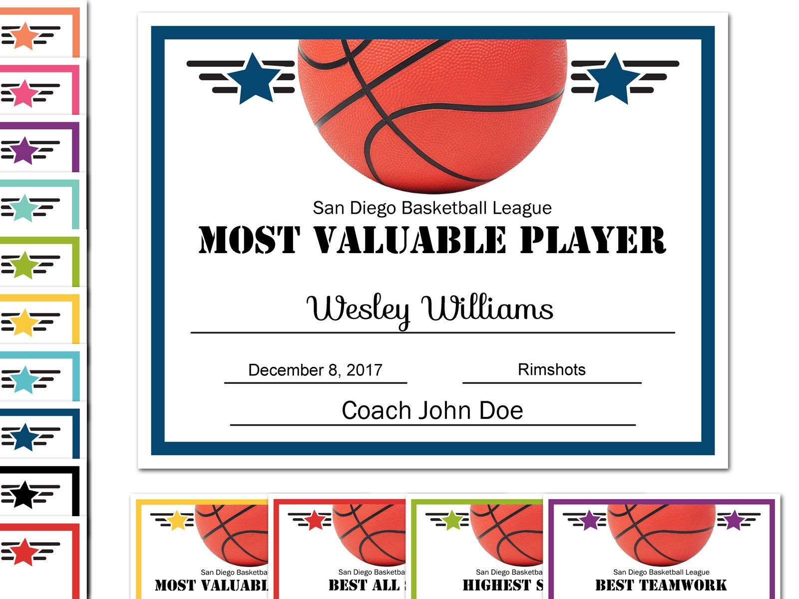 editable pdf sports team basketball certificate award template in 10 colors letter size instant