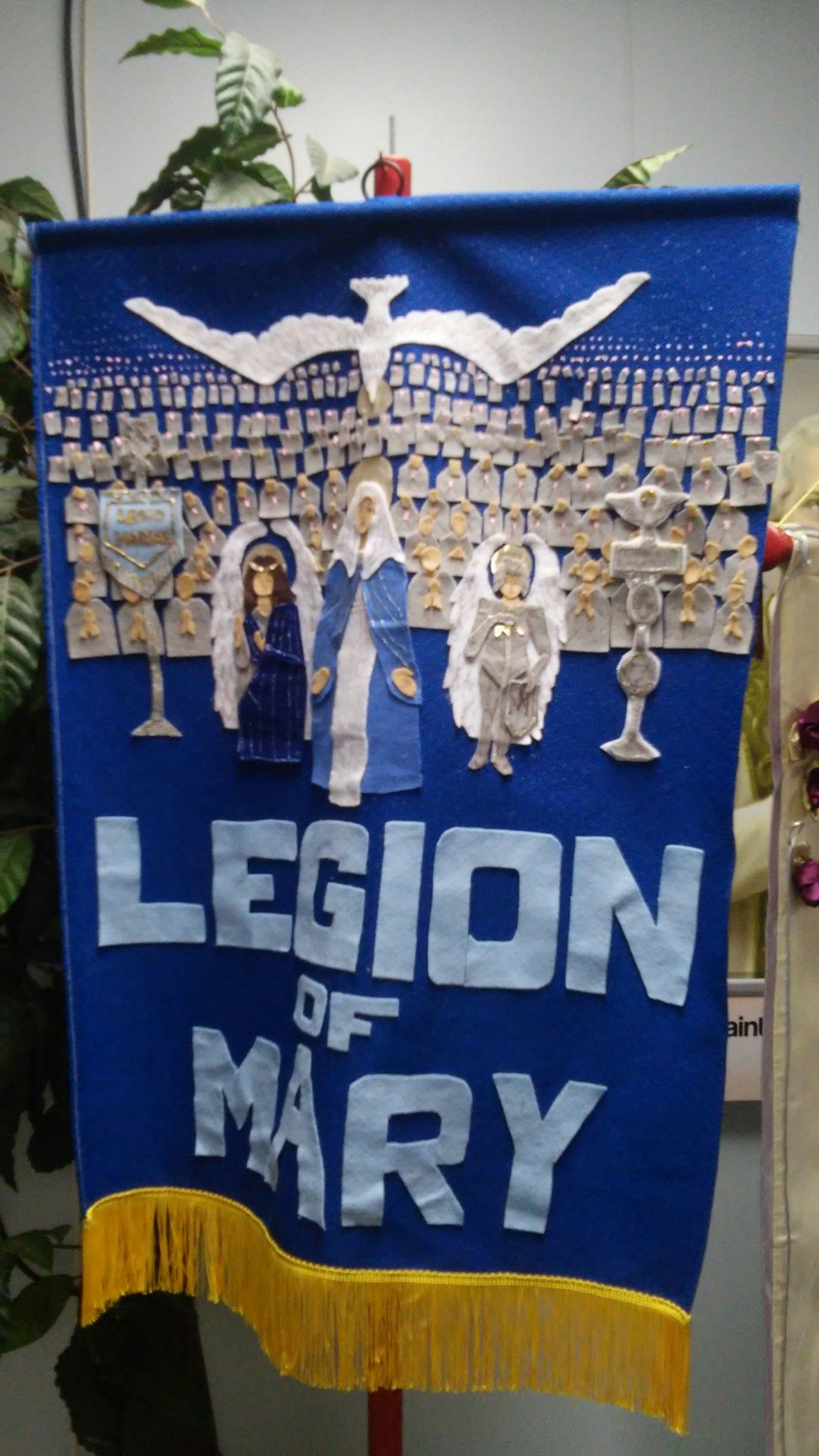 Legion of Mary banner felt and ink paint on fabric HEre is