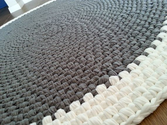 Crochet Rug Made Of High Quality Fabric Yarn T Shirt Colors Grey Melange And Off White The Is Cotton Its Very Soft