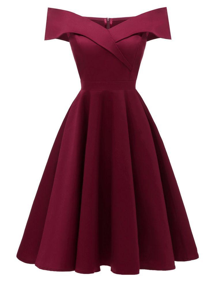 1950s Off Shoulder Swing Dress - Lily McGuillton #vintagedresses